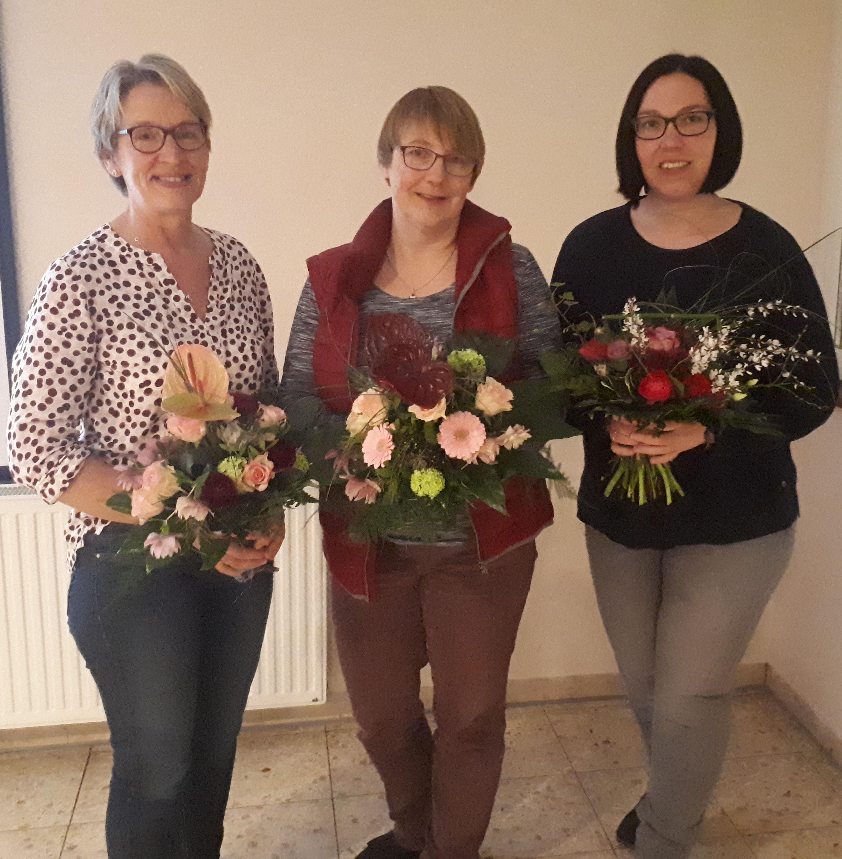 Die ehemaligen Vorstandsmitglieder Elke Engelhardt, Martina Geid, Annika de Waal (v.l.n.r.)